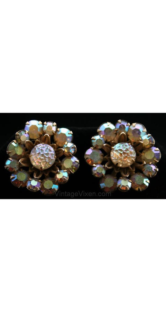 Aurora Borealis 1950s Atomic Earrings - Rhinestone & Goldtone Metal - 50s Clips - Moonrocks Style - Luminous - 50's Glamour Girl - 27931