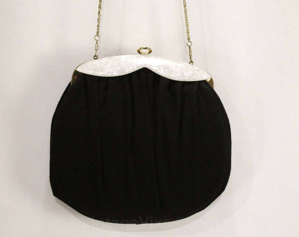1950s Black Shoulder Bag - Round 50s Wool Handbag with Chainlink Strap - Pearlescent White Lucite Trim - Detachable Chain Strap - 48970