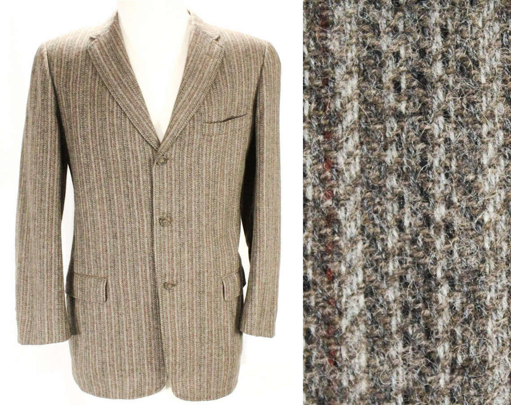 Large Men's Suit Jacket - 1950s 60s Gray Wool Tweed Blazer - Professor Style 50s Sport Coat - Handsome Striped Wool - 3-Button - Chest 44