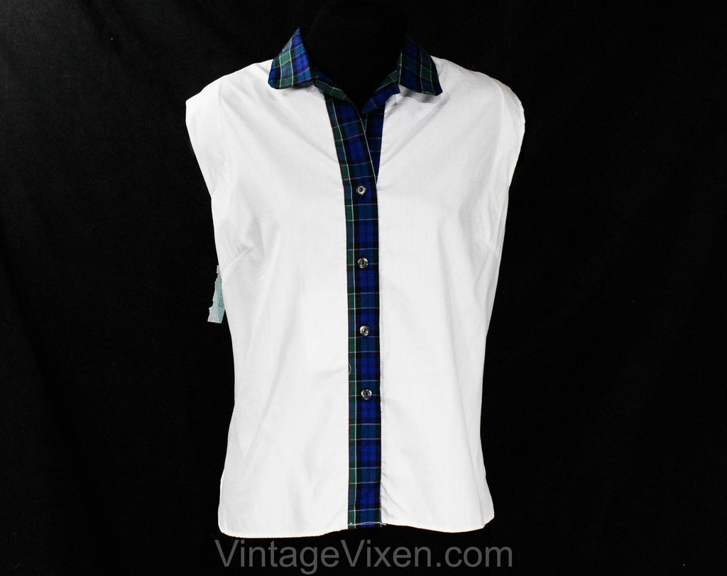 Size 10 1950s Summer Shirt - Medium 50s Sleeveless White Cotton Top with Tartan Plaid Trim - Casual 50s Blouse - Queen Casuals - Bust 41