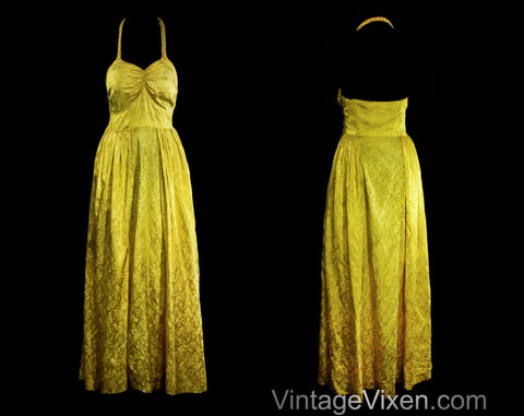 Size 8 1930s Evening Dress - Citron Yellow Rayon Satin Floral Brocade Formal Gown - Authentic 30s Party Frock - Braided Halter - Waist 27