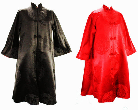 XL 1950s Evening Coat - Size 18 Asian Silk Satin Bats Brocade - 50s Reversible Black & Red Gold Formal Overcoat - Far East Sublime Quality