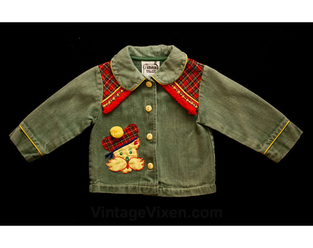 Baby Girls Jacket - Adorable Toddler's Scotty Dog Red Tartan Plaid Denim Jean Jacket - Size 12 to 18 Months - Children's 70s Fall Outerwear