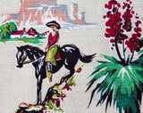 50s Western Novelty Print Barkcloth - 1/2 Yard x 33.5 Inches Wide - Authentic Rare 1950s Cowboy Cotton - Horses Cactus Rodeo Cows Camping