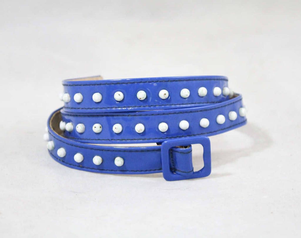 New Wave Electric Blue Studded Belt - Size 10 to 12 - Retro Disco 70s 80s Punk Skinny Belt - Waist 29 to 30 - NWT 1980s Deadstock - 48987