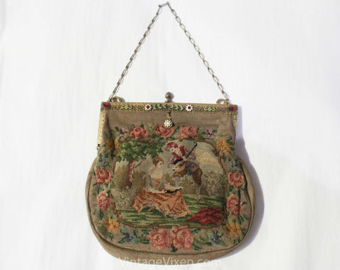 Victorian Inspired 1930s Purse - 18th Century Courting Scene Micro Needlepoint Bag - Antique Look Novelty Scene 30s 40s Handbag Chain Strap