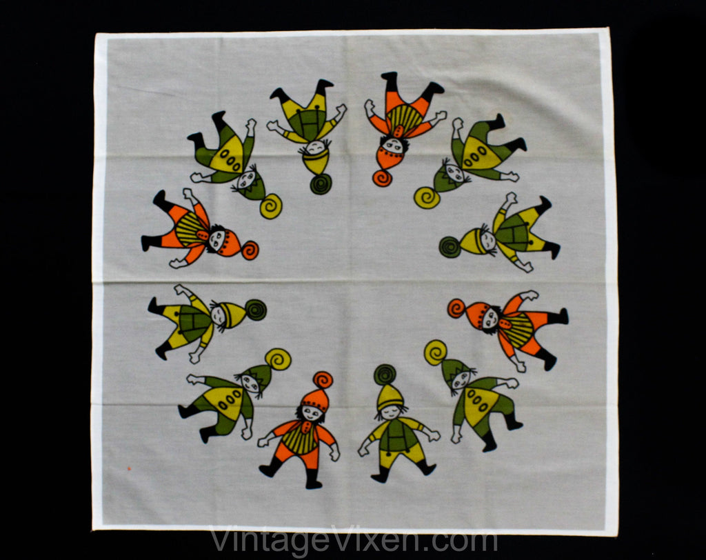 Folk People Tablecloth - 35 Inches Square - 1950s 60s Scandinavian Style Elves Novelty Print - Green Gray Orange - Spring Cotton Table Cloth