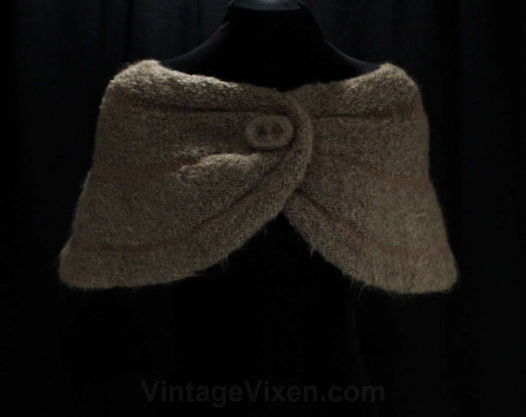 1950s Fluffy Mocha Brown Wrap - Soft Hand Knit Mohair Wool Shrug - 50s 60s Light Brown Shoulder Shawl - Autumn - Bombshell Style - Any Size