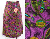 Size 0 Skirt - XXS 1960s Purple Paisley Summer Skirt - Linen Look Rayon - 60s Turquoise Blue, Olive Green, Mustard Preppy Office - Waist 22