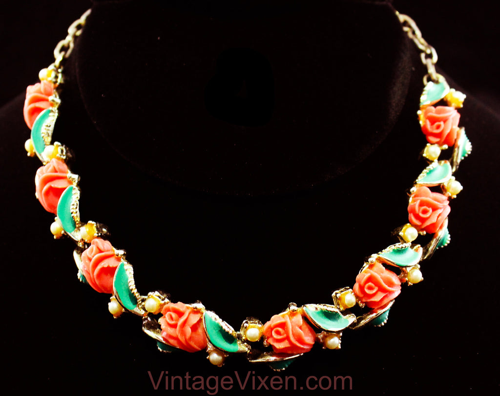 Coral Pink Roses 50s Necklace - Sweet Feminine Spring Summer 1950s 60s Molded Plastic Flowers Jewelry - Jade Green Leaves & Silver Metal