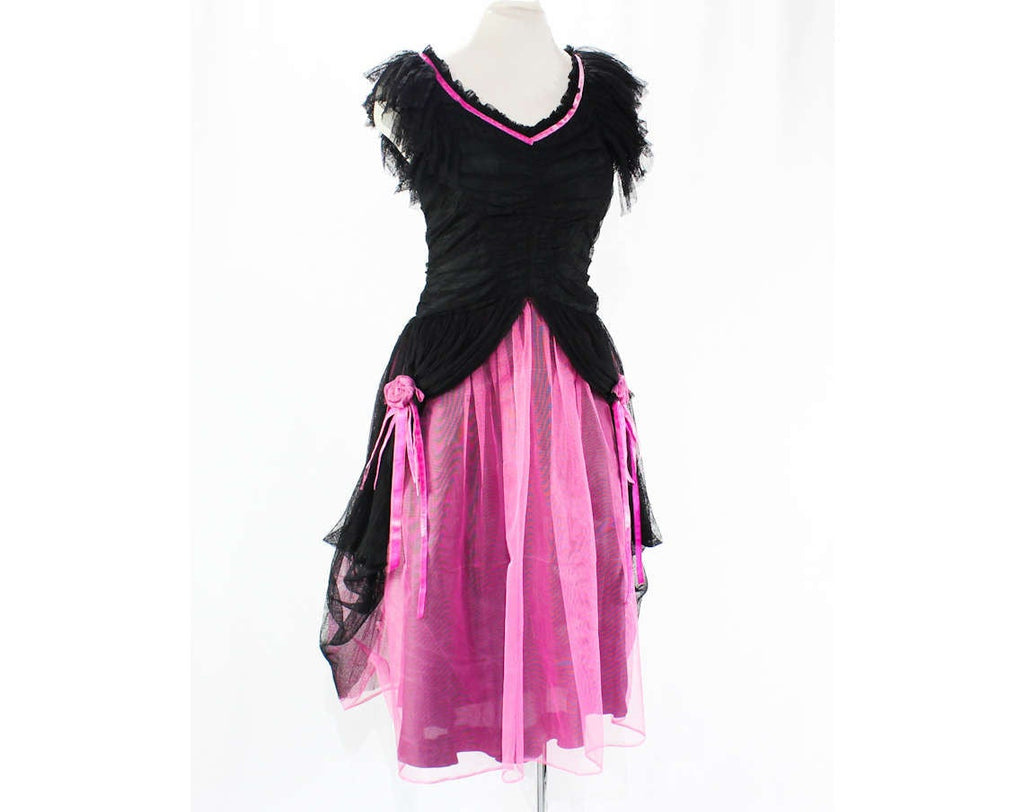 Size 10 30s Party Dress - Authentic 1930s Black Fishnet & Shocking Pink Net - Shirred Bodice - Flounced Skirt - Altered Design - Bust 36