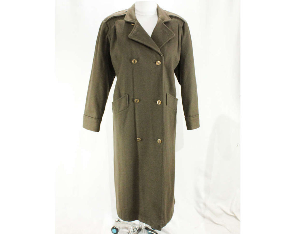 Large XL Trench Coat - Chic Olive Brown 80s Coat - 1980s 90s Winter Overcoat - Sophisticated Street Wear by Miss New Yorker - Bust 46