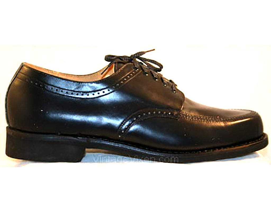 Men's Size 12 Shoes - Black 1960s Mens Oxford Dress Shoes - Marked 12D Wide Width - 60s Classic Mid Century Deadstock NIB Original Box