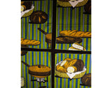 Set 6 Fondue Party Cloth Napkins - 1960s 70s Novelty Print Cotton - Fondue Pot & Fork - Cheese and Bread - Avocado Green Blue Brown - 49859