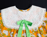 Girl's Size 5T Dress - 1960s Orange Floral Girls Summer Frock - Childs 60s Mod Style with Green Botanical Cotton Print - Puffed Sleeves