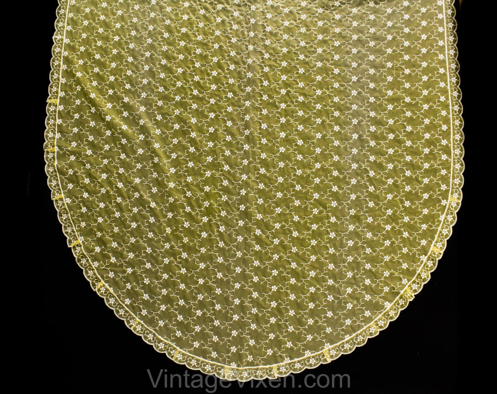Embroidered Dining Tablecloth - Oval Shaped 59 x 128 Inches - Sheer Maize Yellow Nylon Organdy - 60s 70s Eyelet Style Embroidery - Scallops
