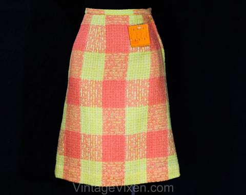 XXXS 60s Boucle Tweed Skirt - Melon Orange & Yellow Wool A-Line - 1960s Office Secretary - less than Size 000 - Waist 21 - NWT Deadstock