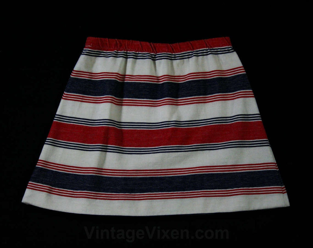 Girl's Size 12 Mini Skirt - Girl's Authentic 60s Striped Knit - Childs 1960s Mod Cute Casual - Red & Indigo Blue Cotton Blend Back to School
