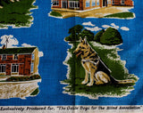 1950s Guide Dogs for the Blind Linen Hand Towel - 50s 60s Novelty Print - Training Puppies - German Shepherd - Leamington Bolton Exeter UK