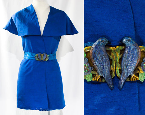 Small 1930s Jacket with Figural Birds Buckle - Authentic 30's Cobalt Blue Silk Wrap - Romantic Shawl Collar - Brocade Belt - Early Plastic
