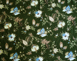 1950s Barkcloth Fabric - Over 9 Yards 50s Forest Green & Blue Cotton - Elegant Mid Century Upholstery Cloth - Antique Style Floral Yardage