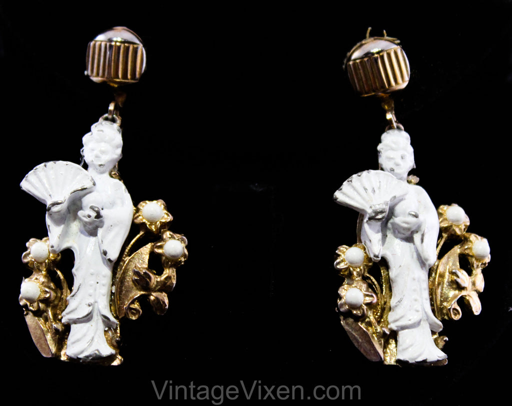 1960s Asian Earrings - White & Gold Japanese Geisha Girls with Fans - 60s Chippy Enameled Metal - Eastern Far East Japan - Dangling Clip On