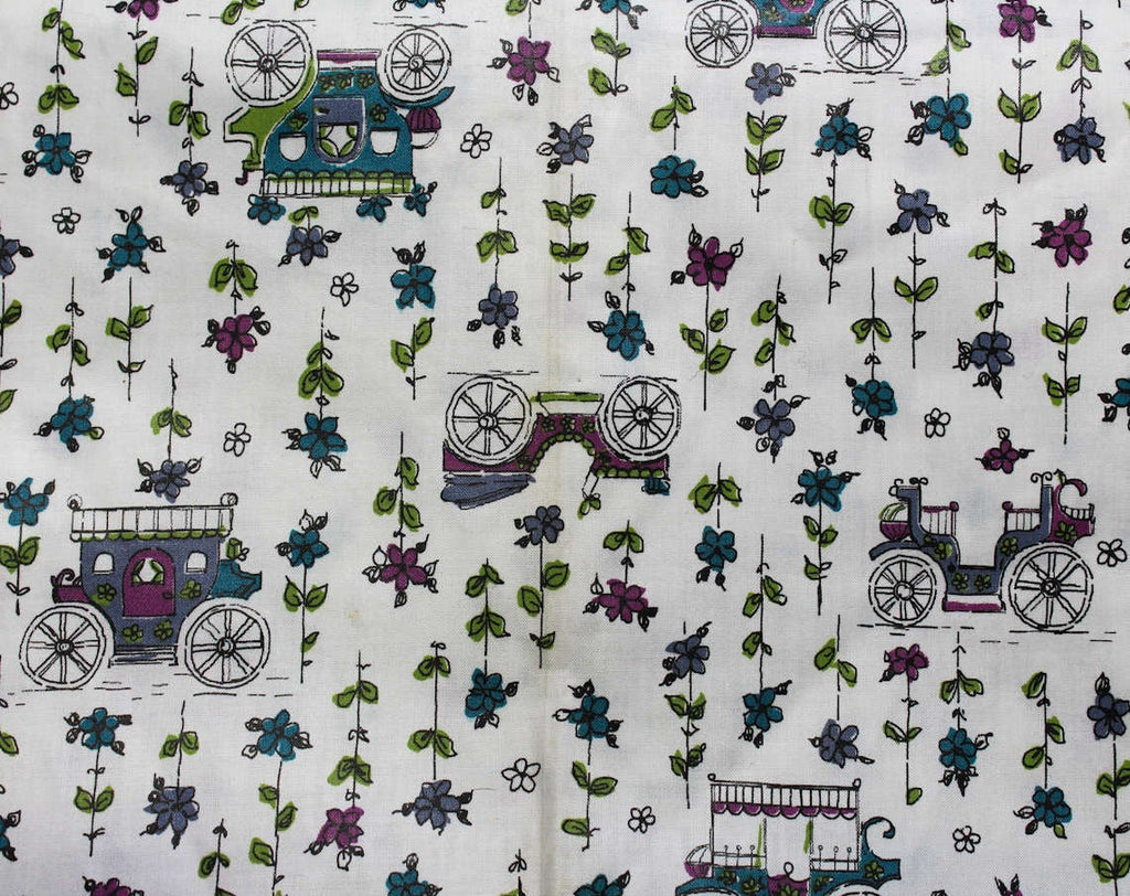 Old Cars 50s Purple Novelty Print Fabric - Over 1.5 Yards x 36 1/2 Inches Wide - Antique Automobiles, Horseless Carriages, Stagecoaches