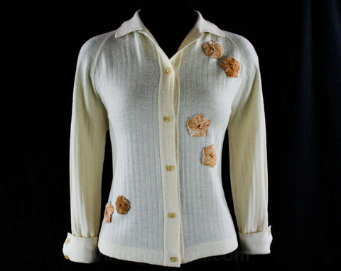 Size 8 Cream Wool Sweater with Panne Velvet Flowers - Floral Appliques - 60s Cardigan - Button Front - 1960s European Style - 43716