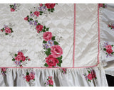 Full Size 1950s Bedspread - Pink & White Roses Quilted 50s Bedroom Linens - Glossy Cottage Floral 50s Double Bed Cover - 105.5 x 93 Inches