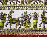 1950s Novelty Print Fabric - Orange Chartreuse Chariots Egyptian Greek Hieroglyph Style Cotton - More Than 16 Square Panels - Over 3 Yards