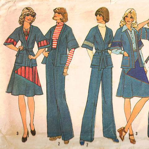 1975 Pant Suit Sewing Pattern - 70s Misses Wrap Jacket Skirt & Wide Leg Trousers - Bust 36 Simplicity 7271 1970s Women's Lib Separates