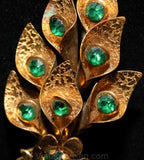 1940s Calla Lily Brass Brooch with Emerald Green Rhinestone - Beautiful 40s Gold Metal Wartime WWII Era Pin - Dimensional Bouquet - 36398-1