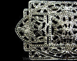 1920s Art Deco Sterling Brooch - Authentic 20s Flapper Era Silver Pin - Cutwork Rectangular Design with Marcasite Stones - Gorgeous Sash Pin
