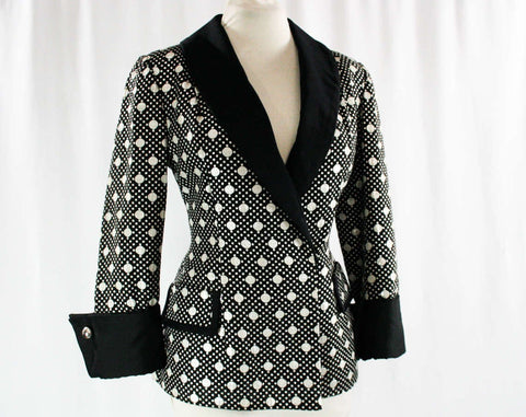 Size 8 Sarmi Jacket - Black & Silver Polka Dot Brocade - Ringmaster Burlesque - From 1960s 7th Avenue Showroom NYC - 60s - Bust 36 - 23669