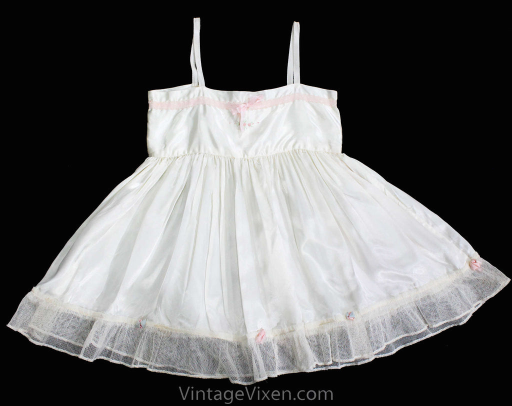 Antique White Satin Baby Dress - Toddler's Chemise with Rosettes Ribbons & Embroidery - Size 2T Girls Spring 1910s 1920s Under Dress