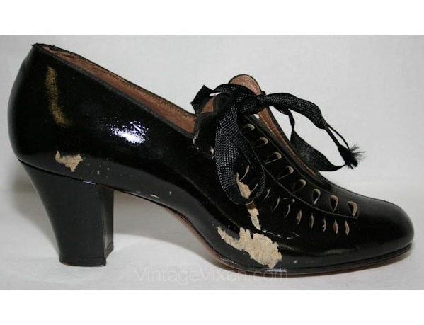 As Is Size 5 1/2 Flapper Era Shoe - 1920s Black Pumps with Cutwork - Size 5.5 Gatsby Chic - Authentic Roaring 20s 30s Deadstock - NOS