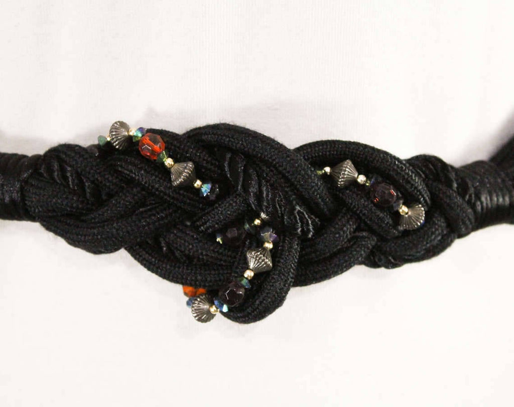 Size 10 Belt - 1980s Knotted Black Cord & Jeweltone Beads - Elegant Dressy 80s Artisan Jewelry for the Waist - Purple Orange Silver - 48981