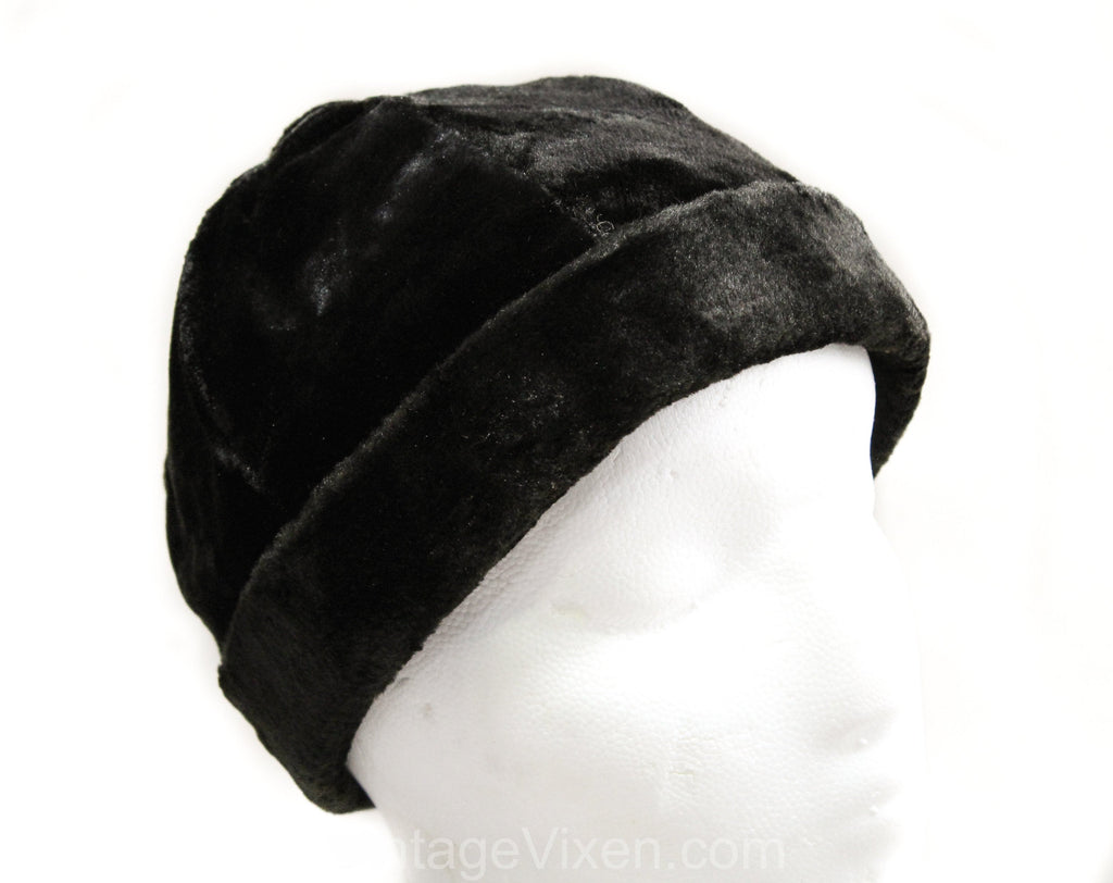 Child's 1920s 1930s Winter Hat - Black Panne Velvet Sheared Faux Fur - Close Fit Soft Cap with Brim - Never Worn 20s 30s Deadstock - 50361