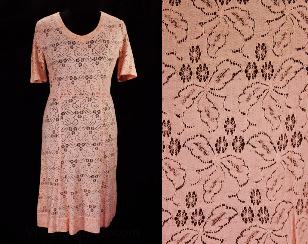 Size 10 1930s Dress - Pink Spiderweb Lace Short Sleeved Medium 30s Dress - Sheer Cotton Spider Webs Cobweb Flowers - V Neck - Bust 38