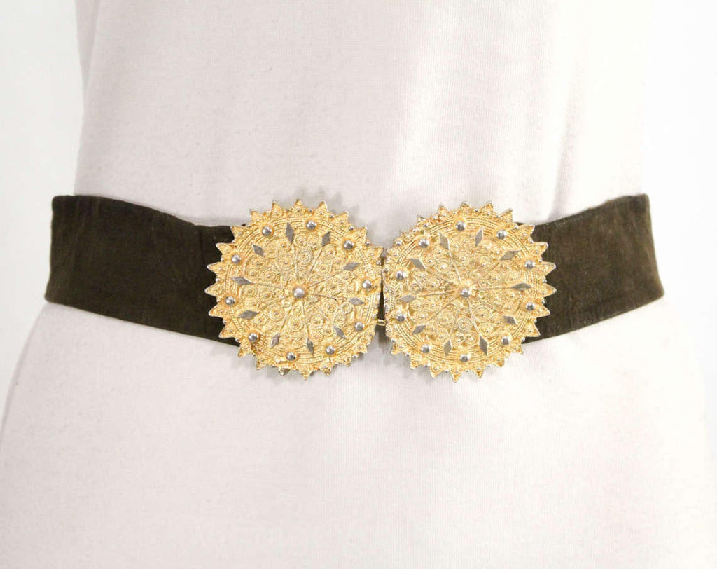 Size 10 Designer Belt - Couture Quality 1960s Chocolate Brown Suede Belt with Gorgeous Brassy Gold Metal Disks - Morris Moskowitz - 29545
