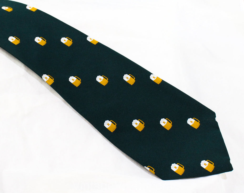 Men's Novelty Beer Tie - 1970s Tavern Theme Polyester Necktie - Hunter Green 1970s Neckwear - Wide Width - Frothy Drinking Mugs Oktoberfest
