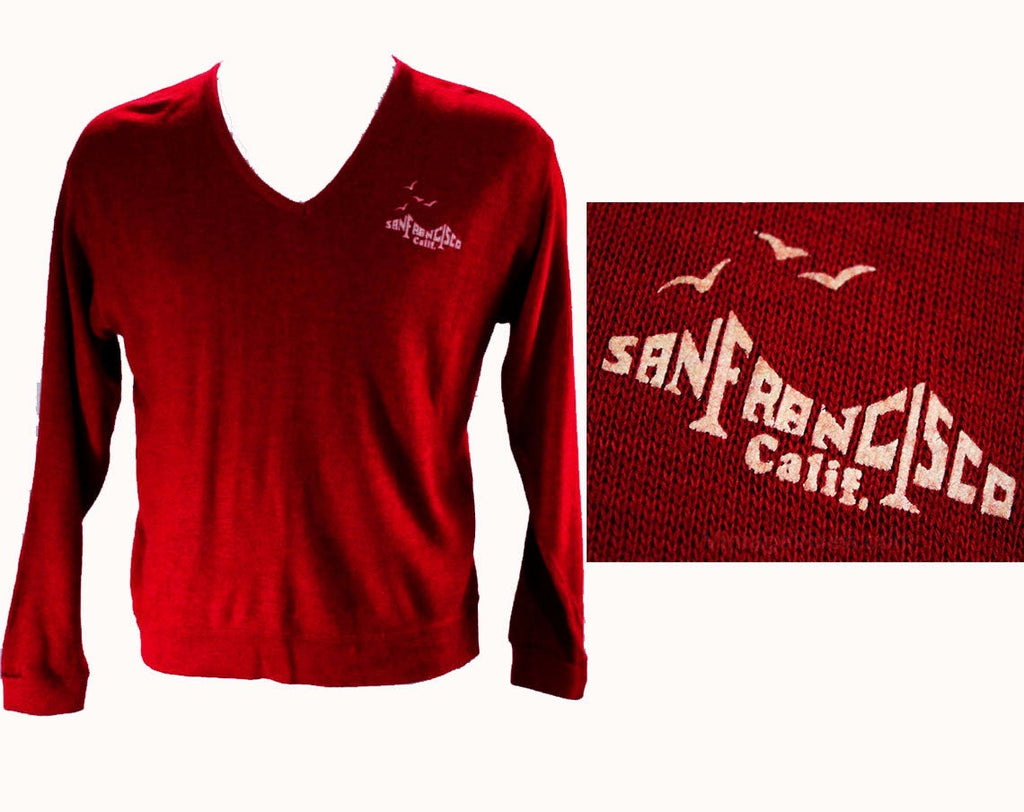 Men's Medium Sweater - 1970s San Francisco California Knit Top - Red V Neck Mens 70s Pullover - Long Sleeved American Souvenir - Chest 43