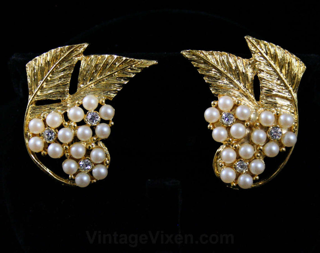 Glam 1950s Earrings - Wing Like - Faux Pearls & Rhinestones - Goldtone Metal Leaves - Celebrity Fashion Jewels - Deadstock on Card - 42406