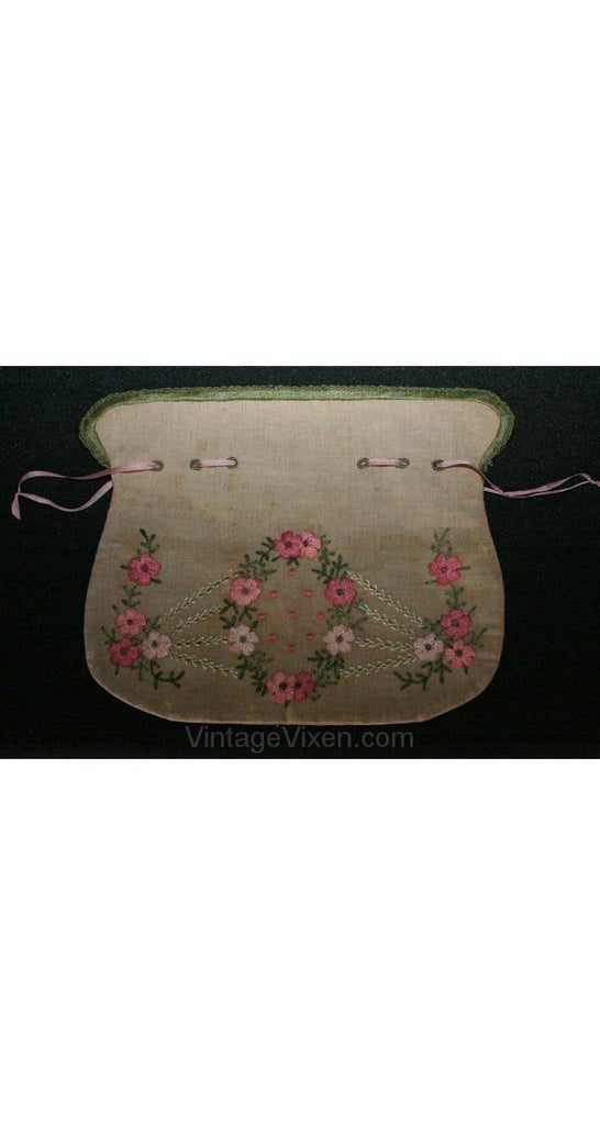 1900s Arts & Crafts Embroidered Linen Purse - Authentic Antique Drawstring Bag - Hand Sewn Pink Embroidery - Regency Style - 26297