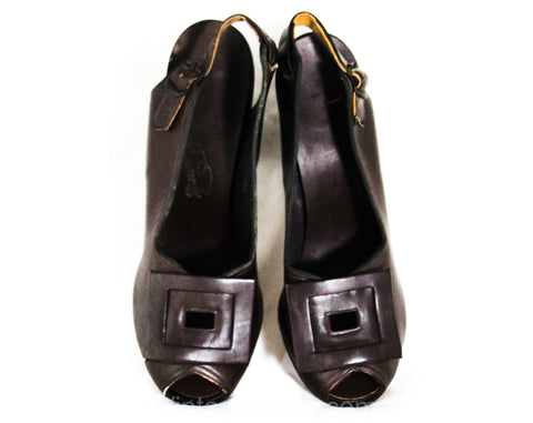 Size 4.5 1940s Brown Shoes - Unworn Dark Chocolate Fine Leather Pumps - 40s Peep Toe Heels - 4 1/2 to 5 MISMATCH Size - WWII NOS Deadstock