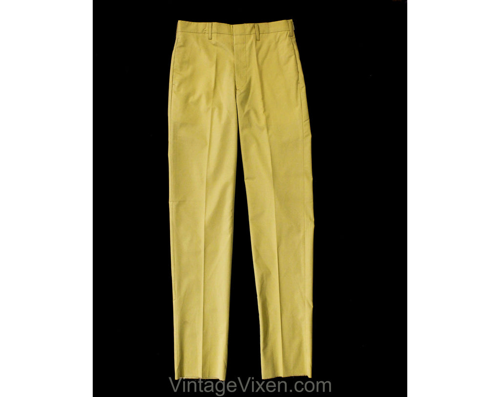 Men's Small Taupe Pant - 1960s Yellow Tan Cotton Dress Trousers - Mid Century Mod Mens Business Wear - 60s Deadstock - Waist 30 Inseam 37
