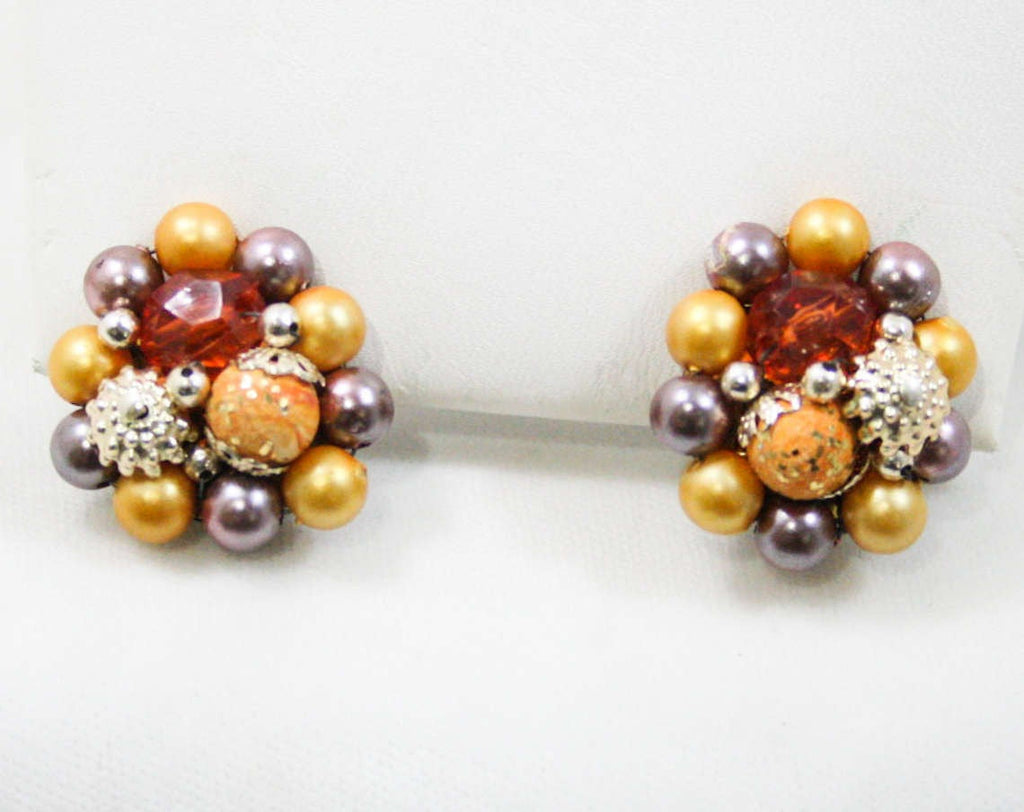 60s Clip Earrings - Saffron Yellow - Lilac Purple - Faux Pearls - Cinnamon Faceted Beads - Goldtone Metal - 1960s - Clips - Clusters - 42599