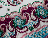 1940s Rayon Print Scarf - 40s Pink Magenta Blue Green & White Paisley Muffler - Border Print Cold Rayon 40's Casual Spring Rectangular Scarf
