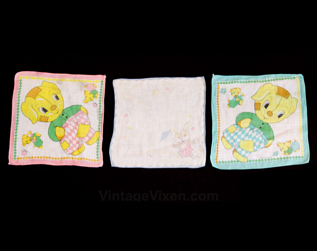 Children's Handkerchief Lot of 3 - 40s 50s Child's Novelty Print Cotton Hanky - Yellow & Pink Puppy Dogs - Tight Rope Circus Bunny - 49679