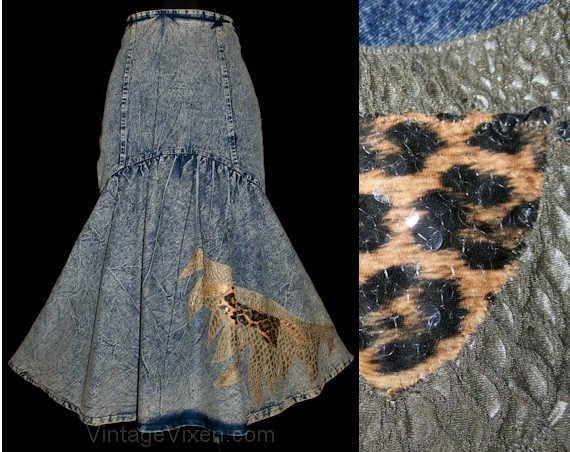 Bad Girl 1980s Stonewashed Denim Skirt with Leopard Pattern Mermaid Flare - Size 2 3 Waist 25 Hip 34 Small Punk Funky Artsy #40932-1